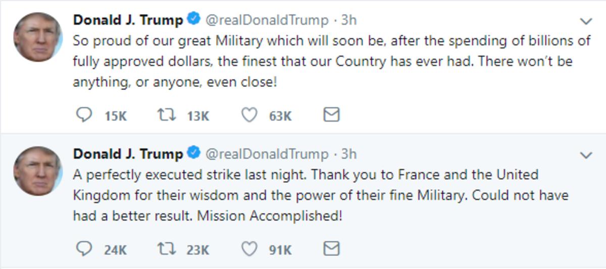 Trump Tweets victory in Syria
