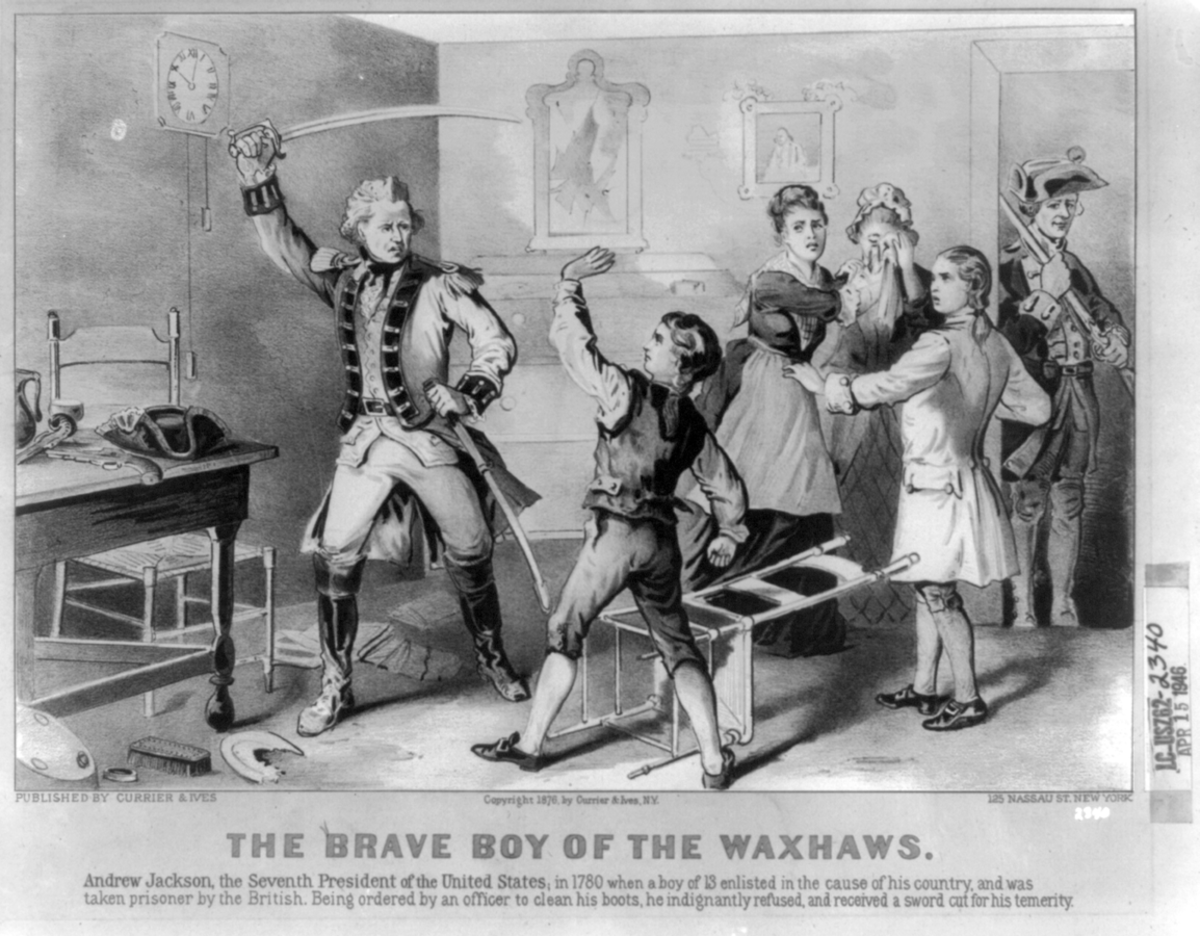"""The Brave Boy of the Waxhaws"". Depicts incident in the childhood of Andrew Jackson, showing the lad standing up to British soldier. As depicted a century later in an 1876 lithograph."
