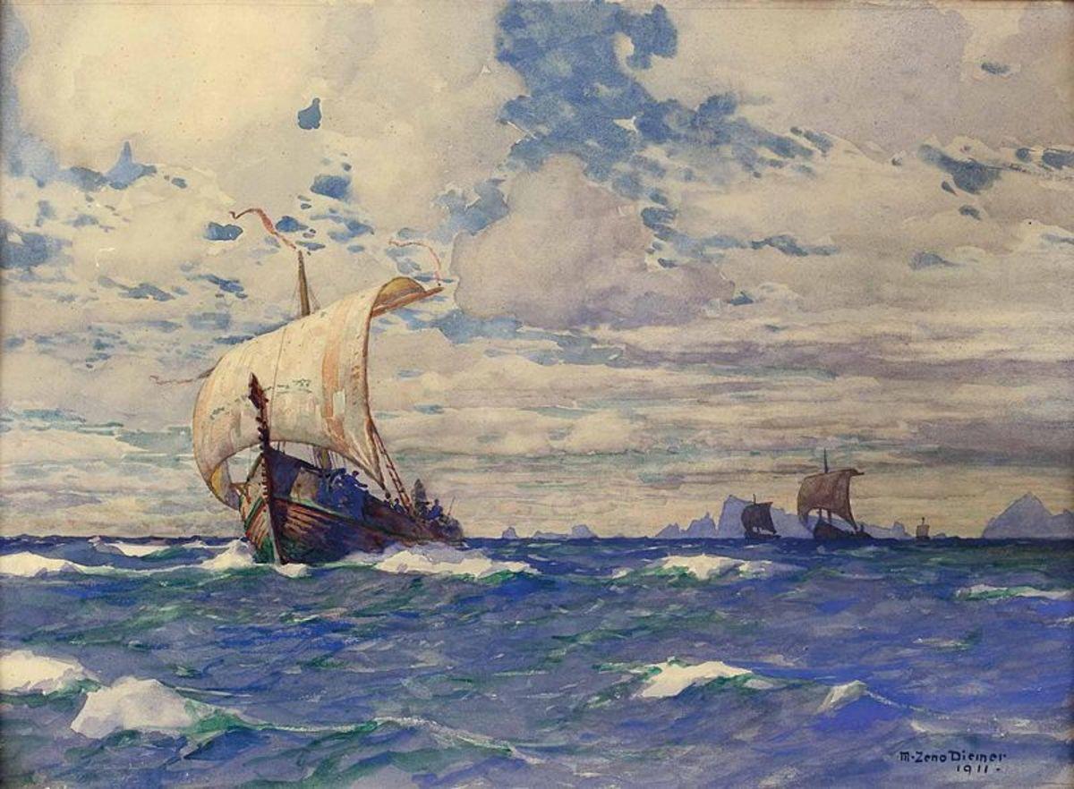 Wikingerschiffe vor Felsenküste (Viking Ships Before Rocky Shore) - Michael Zeno Diemer