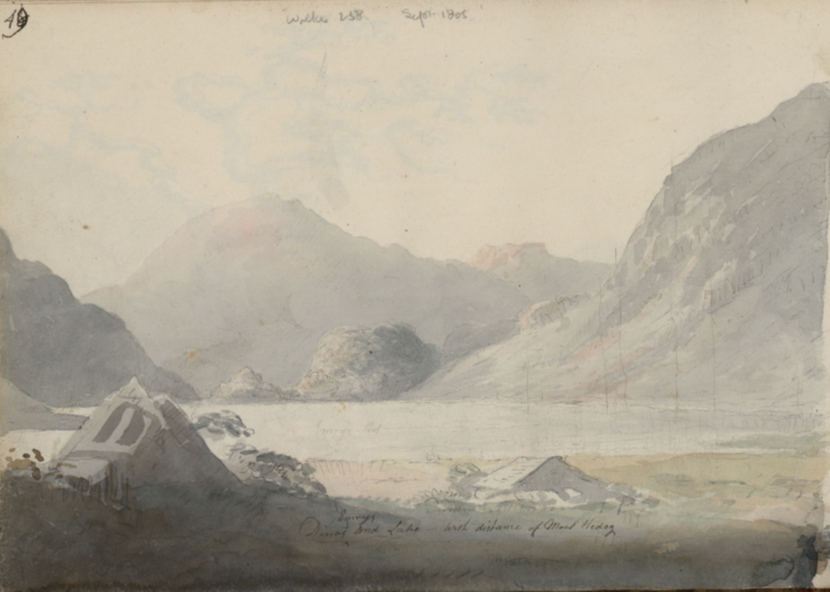 Dinas Emrys and Lake - Moses Griffith