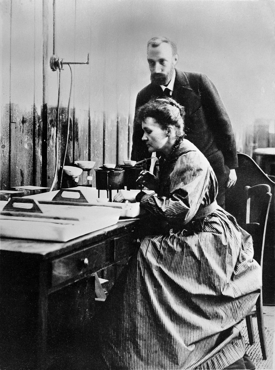 Marie and her husband Pierre in a laboratory.