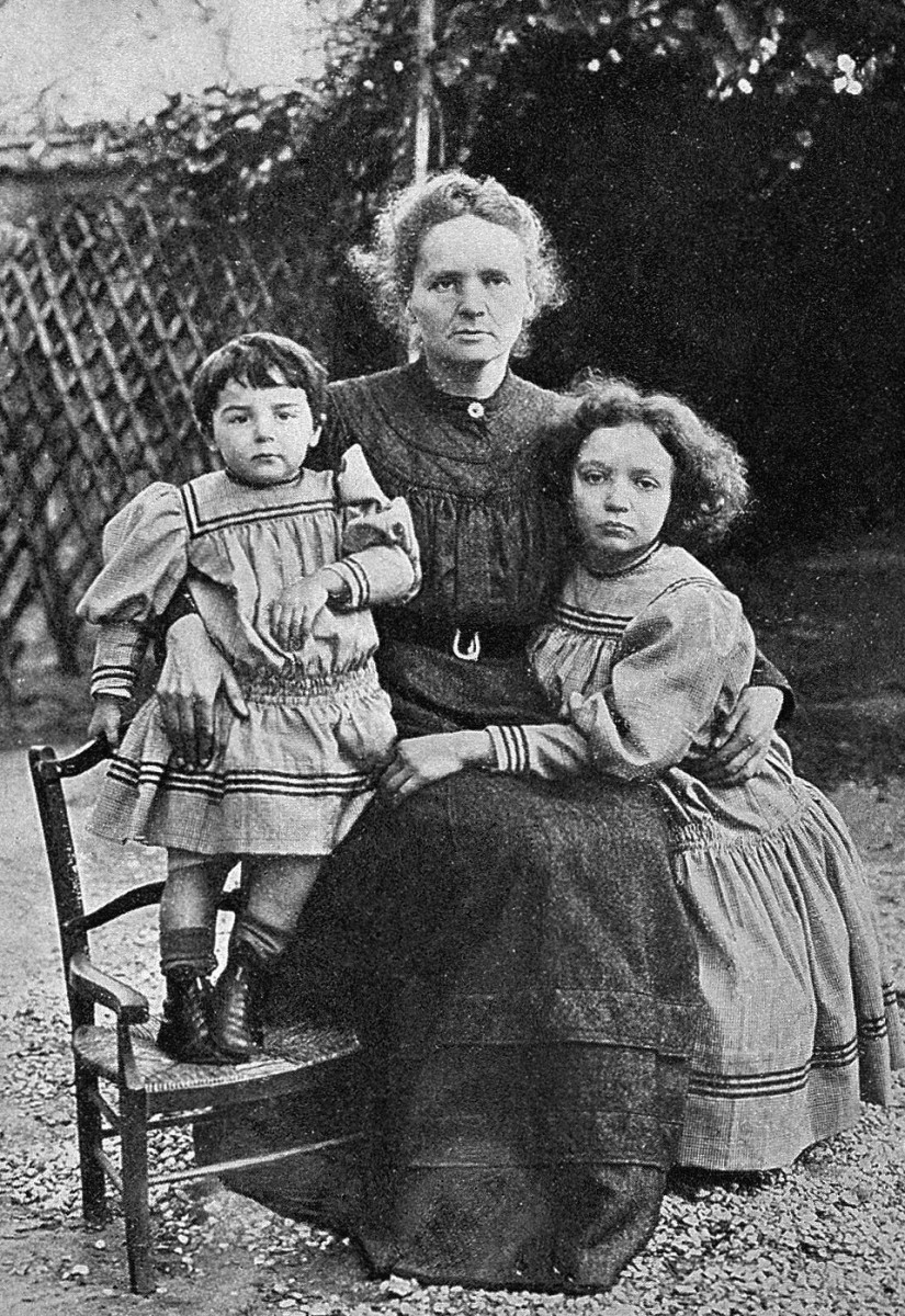 Marie Curie, and her two daughters, Eve and Irene