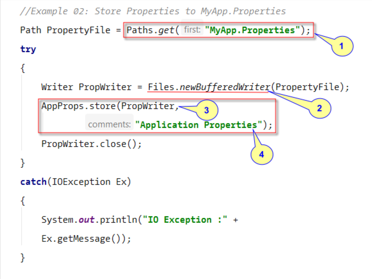 Persisting Properties to Text File using Store() method
