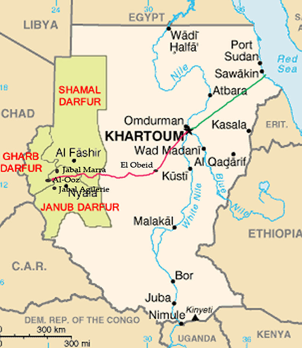 This map of Darfur in western Sudan indicates Bakhita's birthplace in Al-Qoz; the red line shows her journey as a slave, and the green line from Khartoum traces her journey as free person.