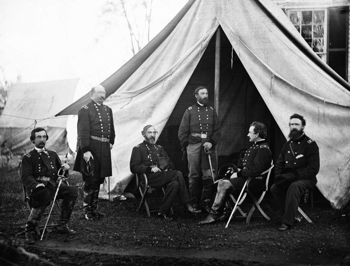 Union Army of the Potomac officers, General Meade seated in center.