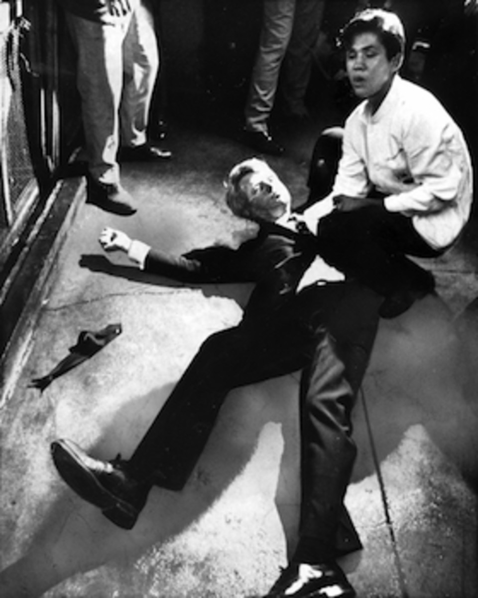 Senator Robert F. Kennedy awaits medical assistance as he lies on the floor of the Ambassador hotel in Los Angeles moments after he was shot.
