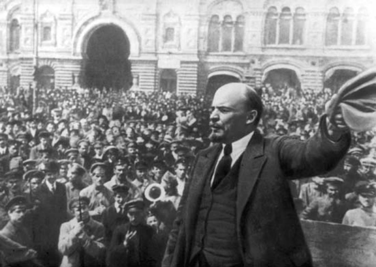 Vladimir Lenin giving a speech to supporters during the Russian Revolution.