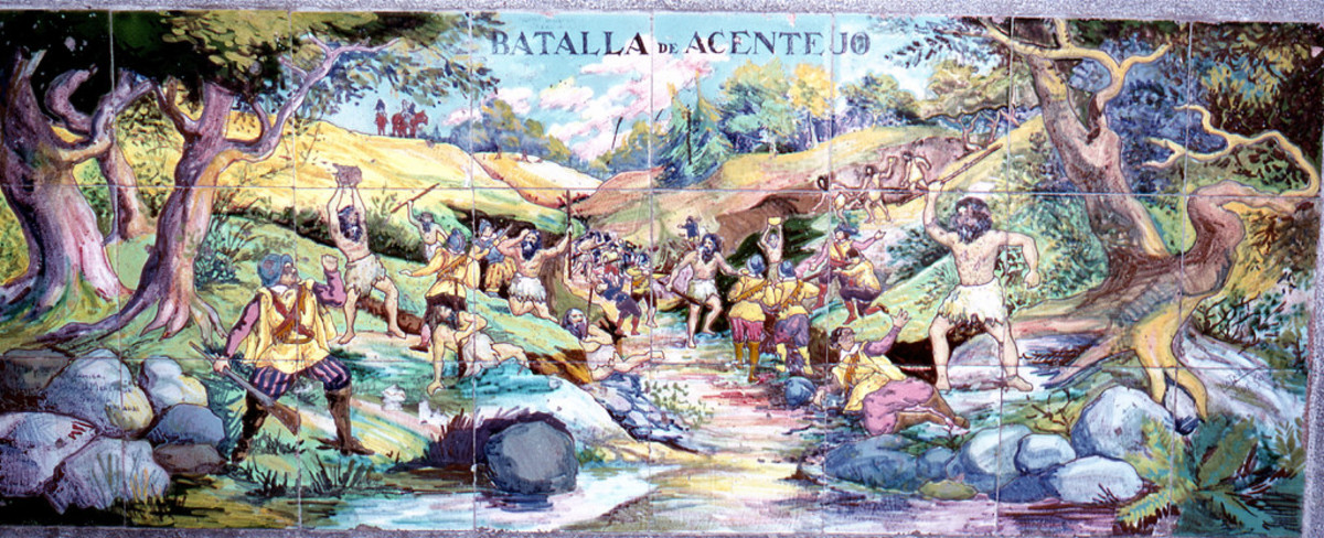 A Tile mural in Municipal Park, Santa Cruz, Tenerife, Battle of Acentejo