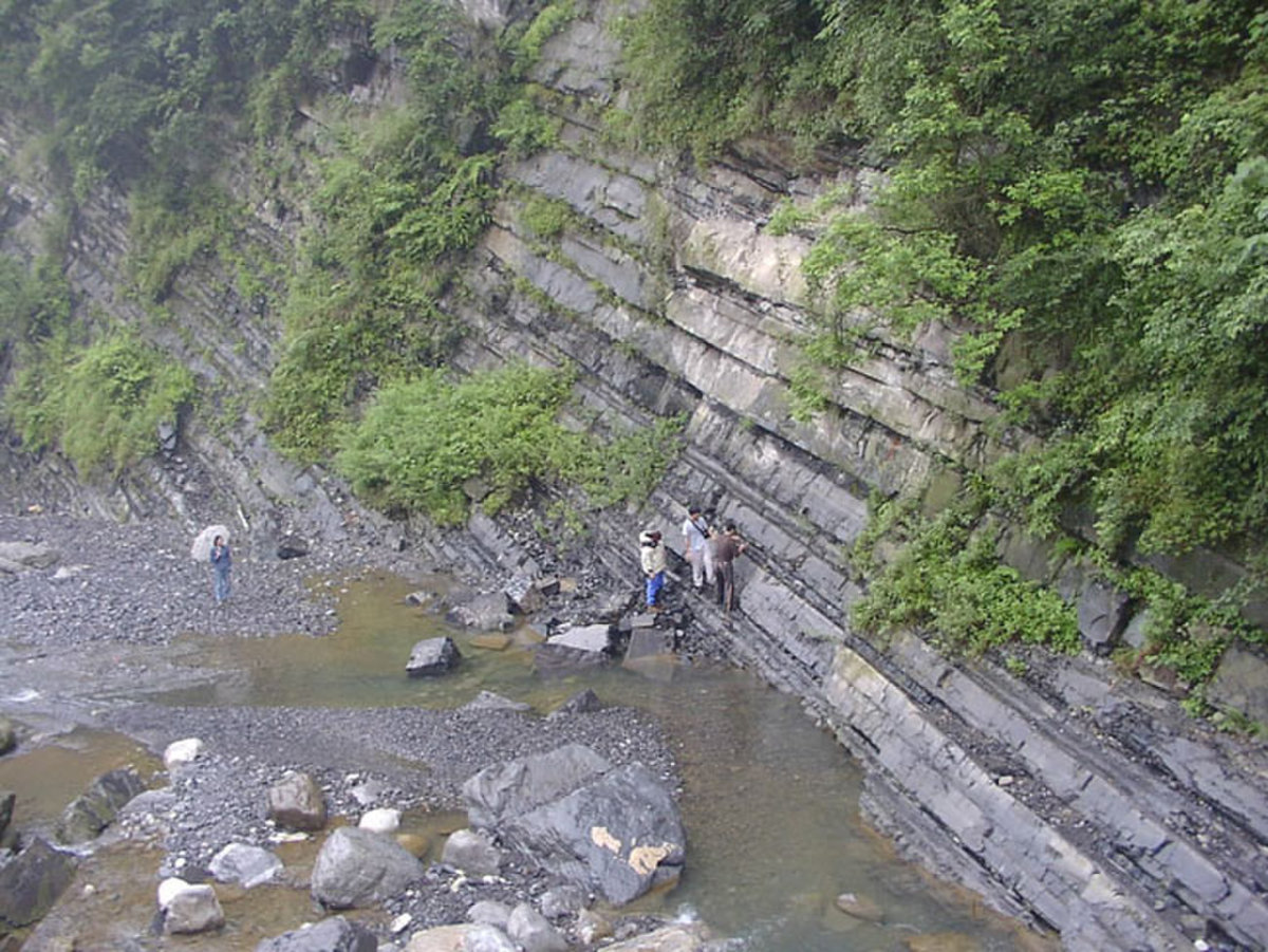 Researchers studying the Doushanto Formation in the Yangtze Gorges area, South China.