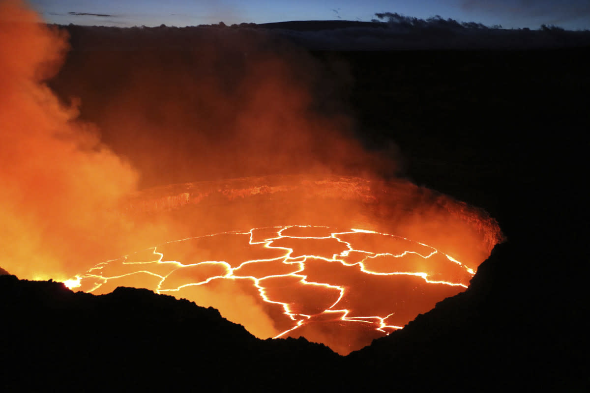This is a 2016 picture of the top of Kilauea volcano with a full lava lake.