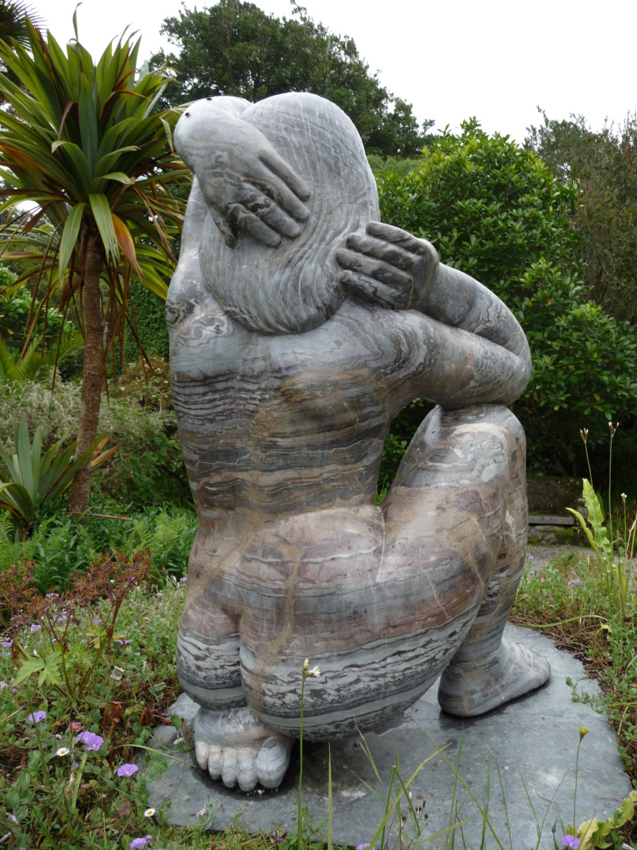 The sculpture of Gaia, the Earth goddess, by David Wynne. Situated in the Abbey Gardens, Tresco, Isles of Scilly.
