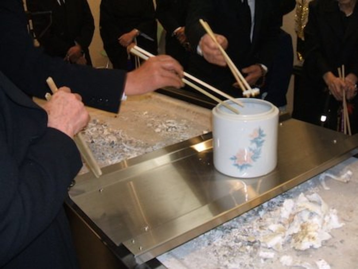 Kotsuage bone picking ceremony (Japanese Buddhist culture).