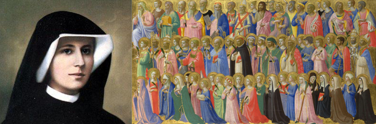 St. Faustina Kowalska; a detail of the communion of saints by Blessed Fra Angelico.