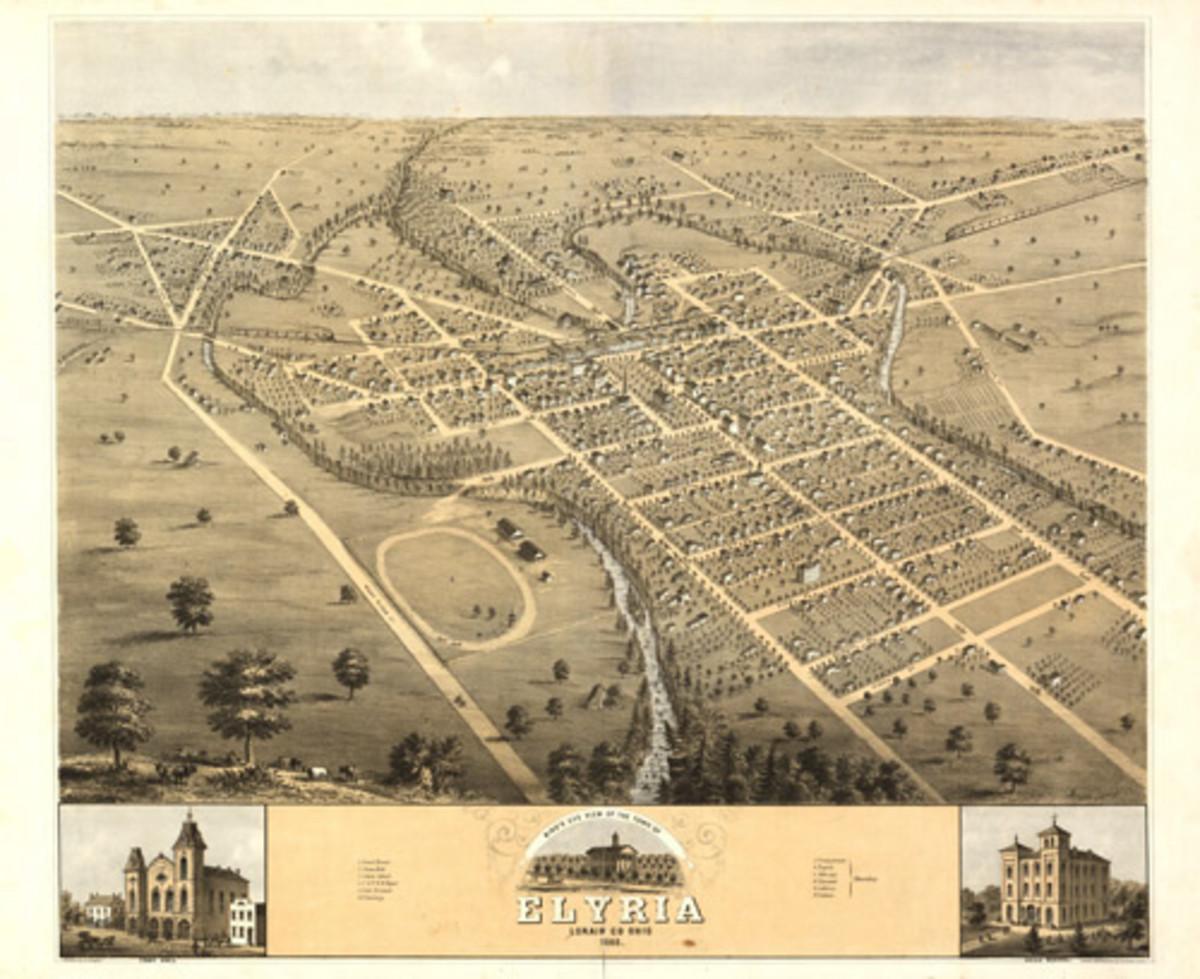 Map of Elyria, Ohio, 1868