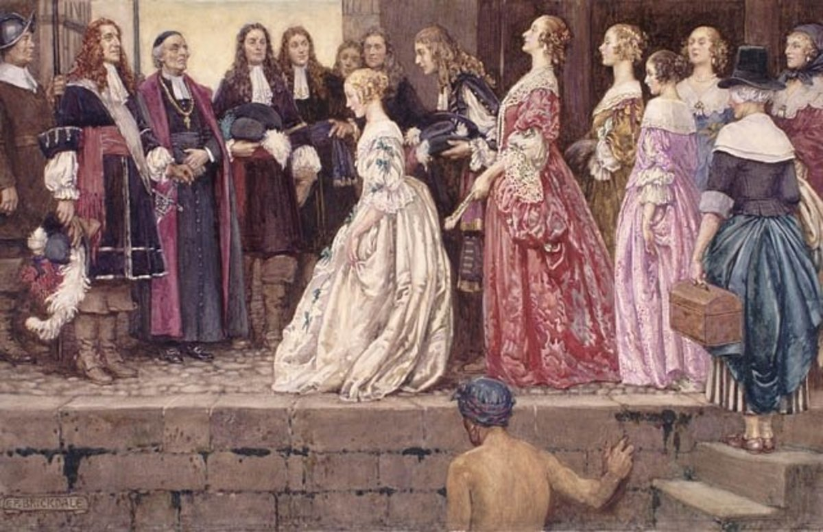 Almost 300 years after the event, Eleanor Fortescue-Brickdale depicts the arrival of les filles dressed as though going to a royal ball.