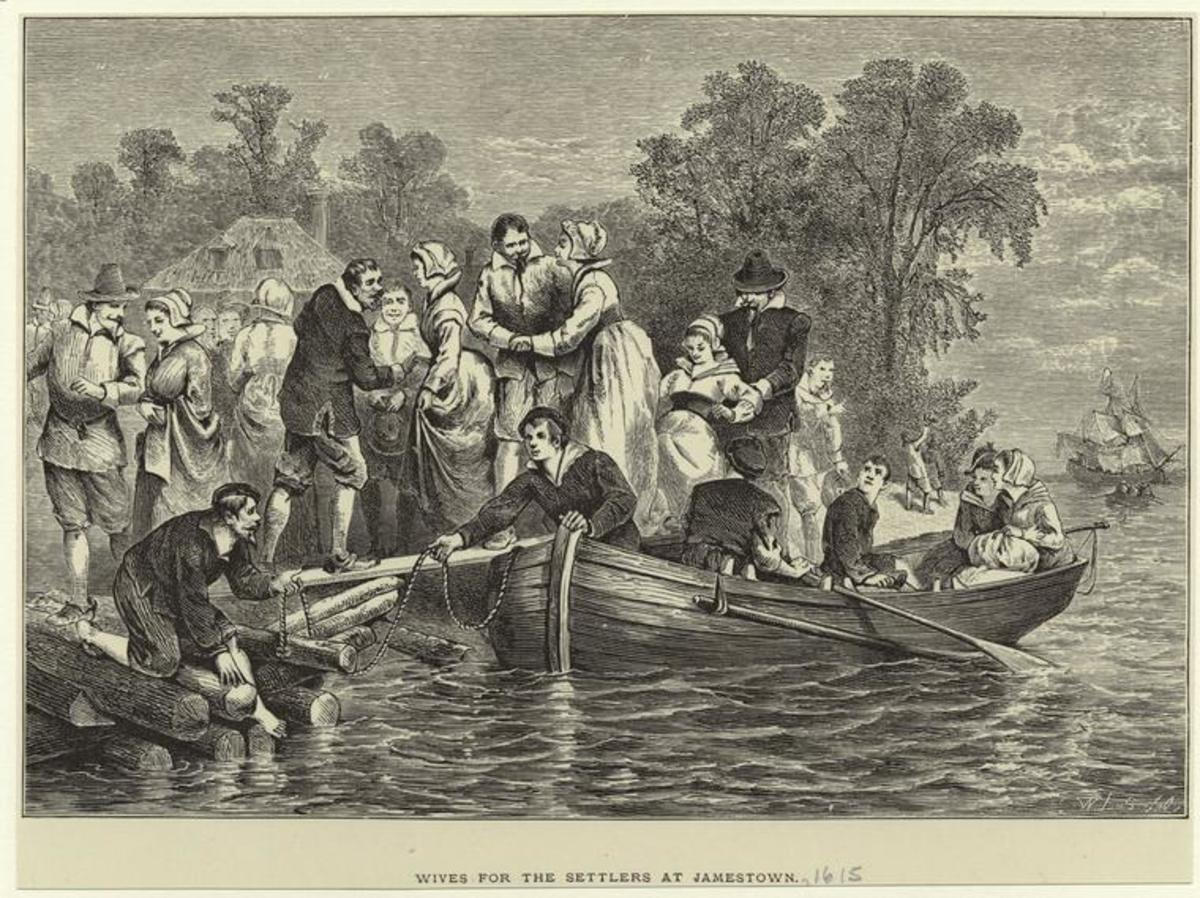The imagined arrival of brides-to-be at Jamestown.