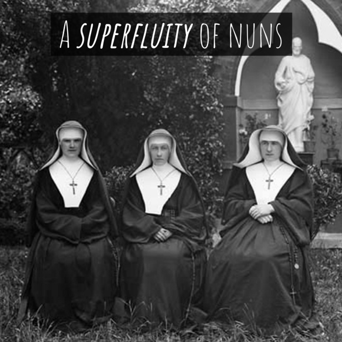 "A group of nuns is referred to as ""a superfluity."""