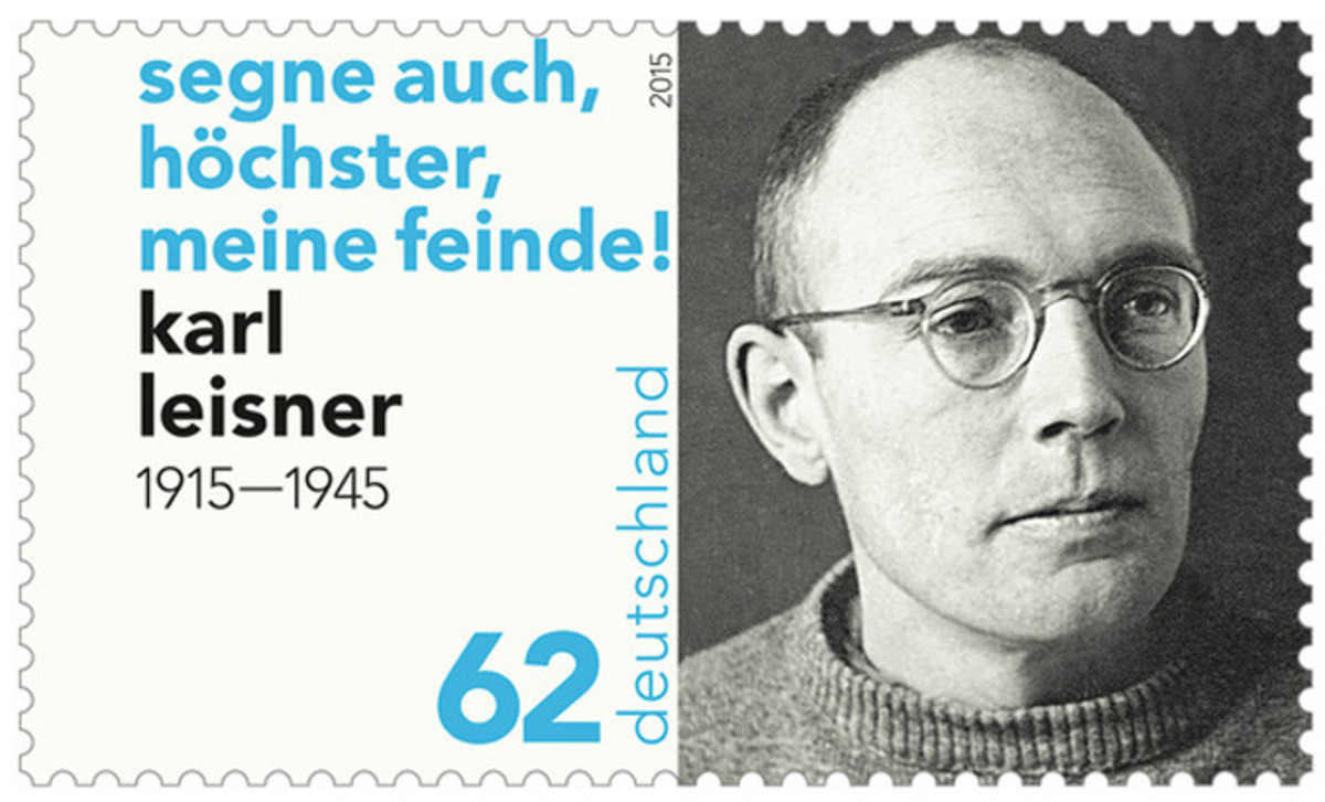"This German stamp quotes Karl, ""Bless also, O Most High, my enemies."""