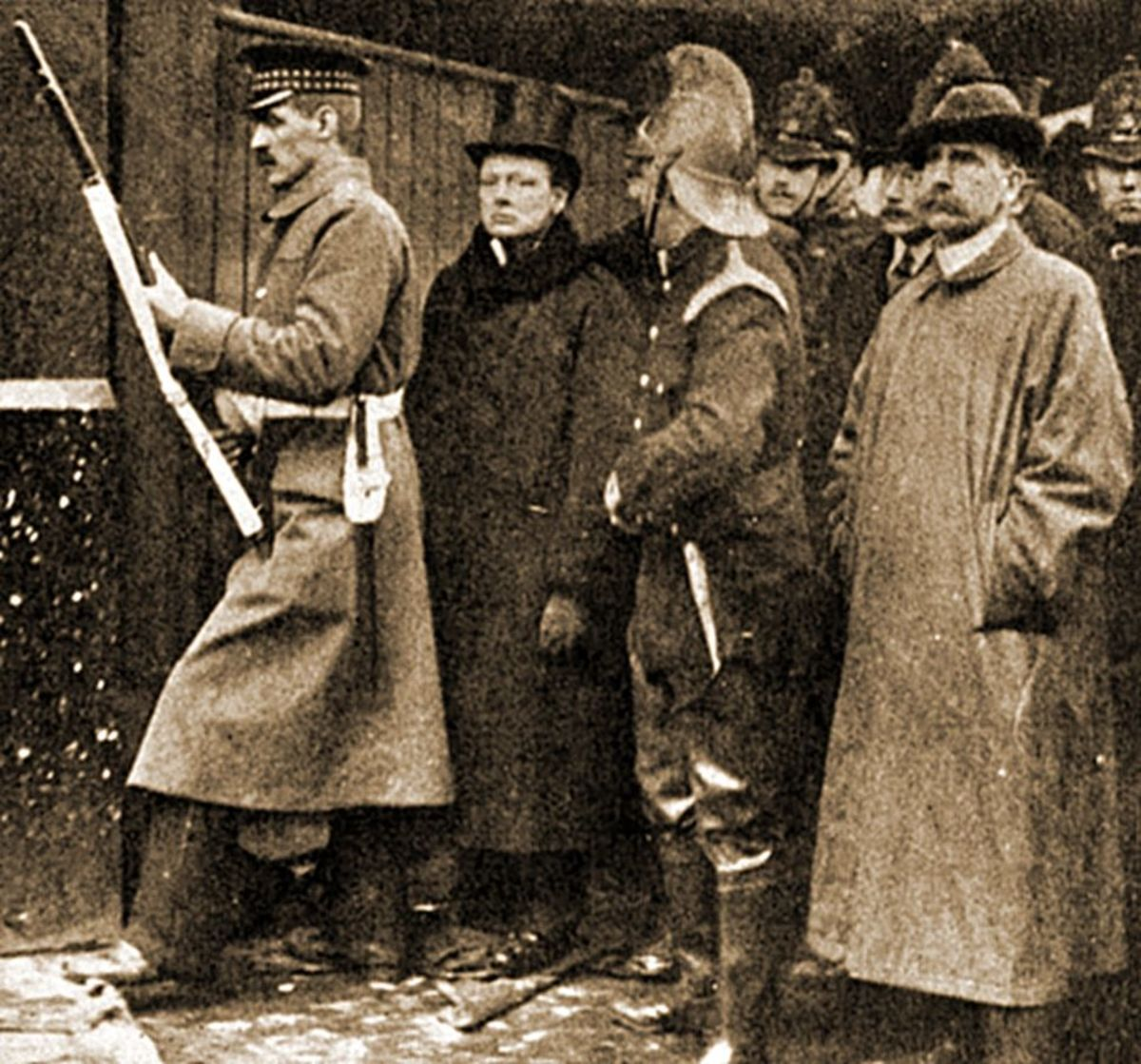 Winston Churchill at the scene.
