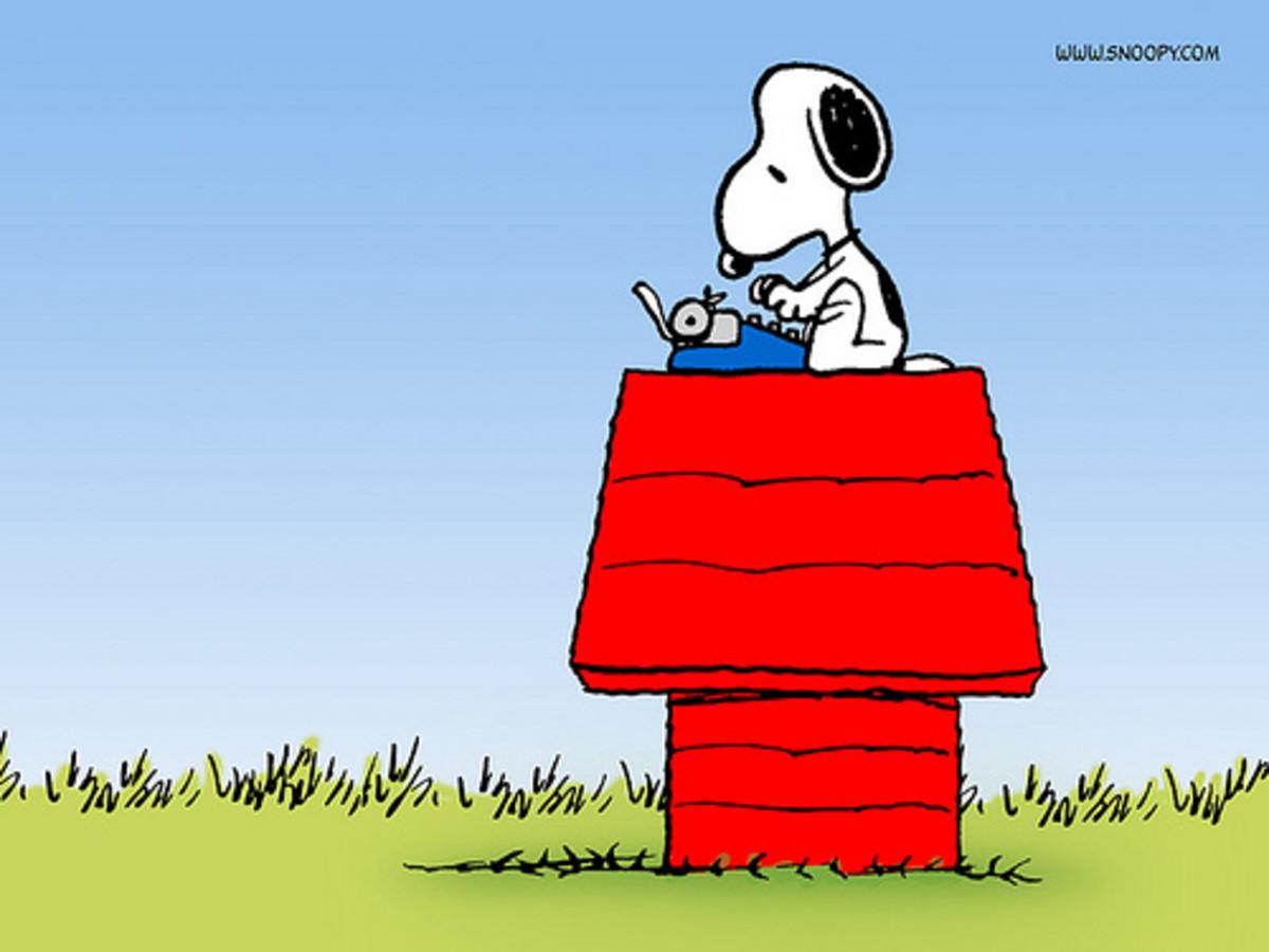 Snoopy begins work.