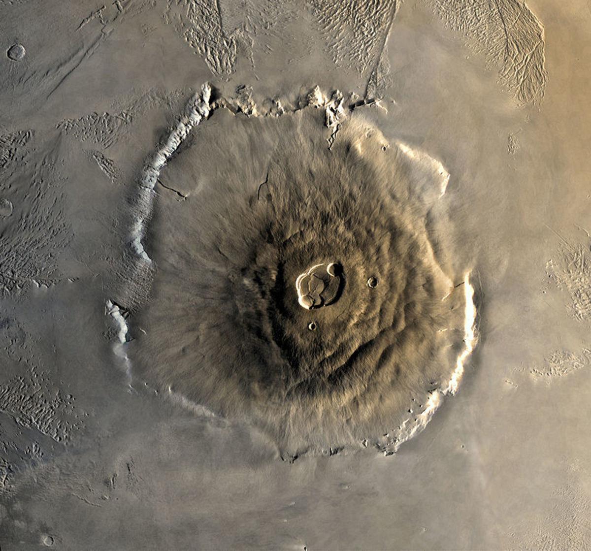 Olympus Mons, an extinct volcano on Mars