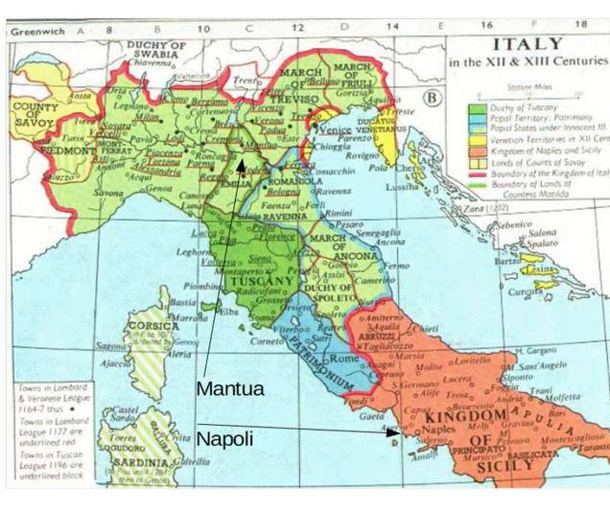 Public Domain Map of Medieval Italy (before Basile's birth)