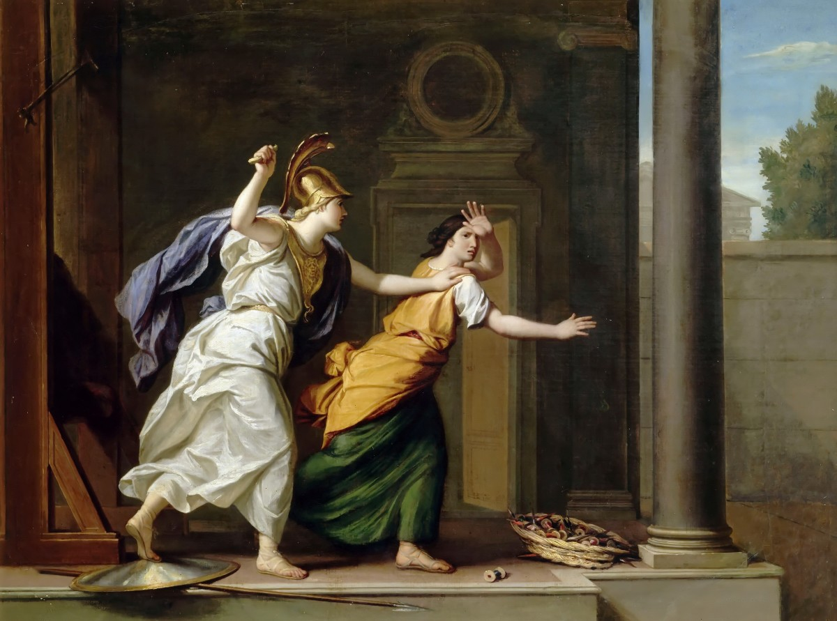 A painting by René-Antoine Houasse, showing the enraged Athena attacking Arachne.