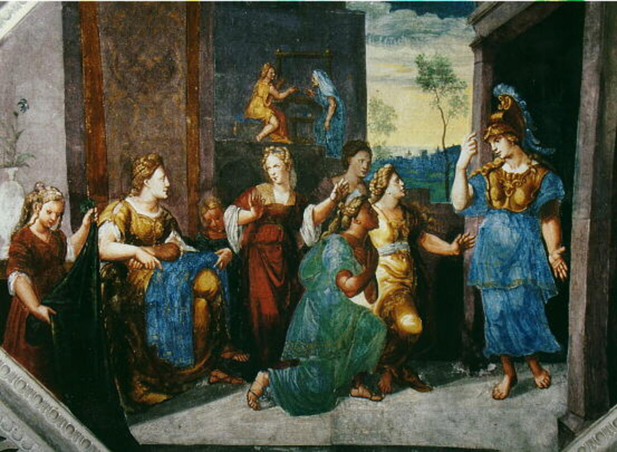 A painting by Herman Posthumus, of Athena revealing herself to Arachne and the crowd.