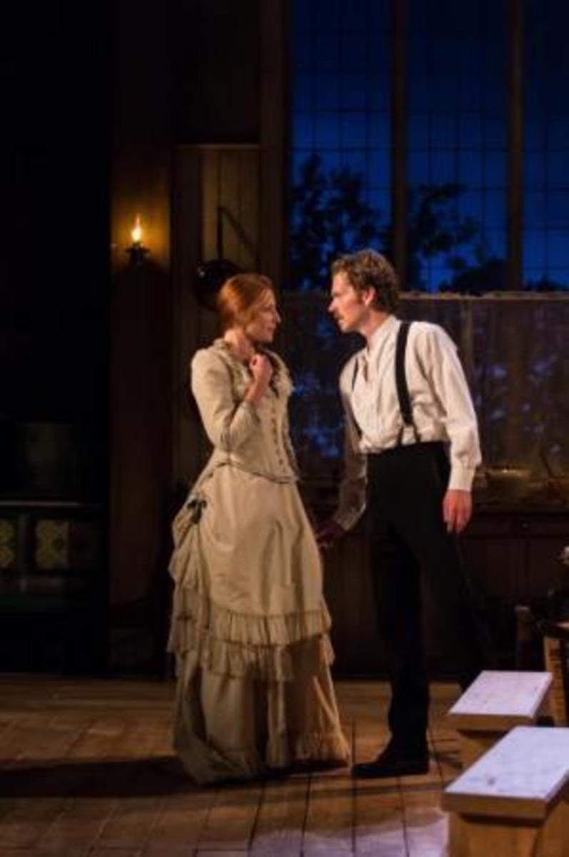 "Rosalie Craig and Shaun Evans in ""Miss Julie"" (2014). Photo by Manuel Harlan."