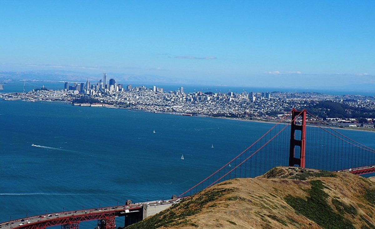 San Francisco and the Golden Gate Bridge from the Marin Headlands in June 2017