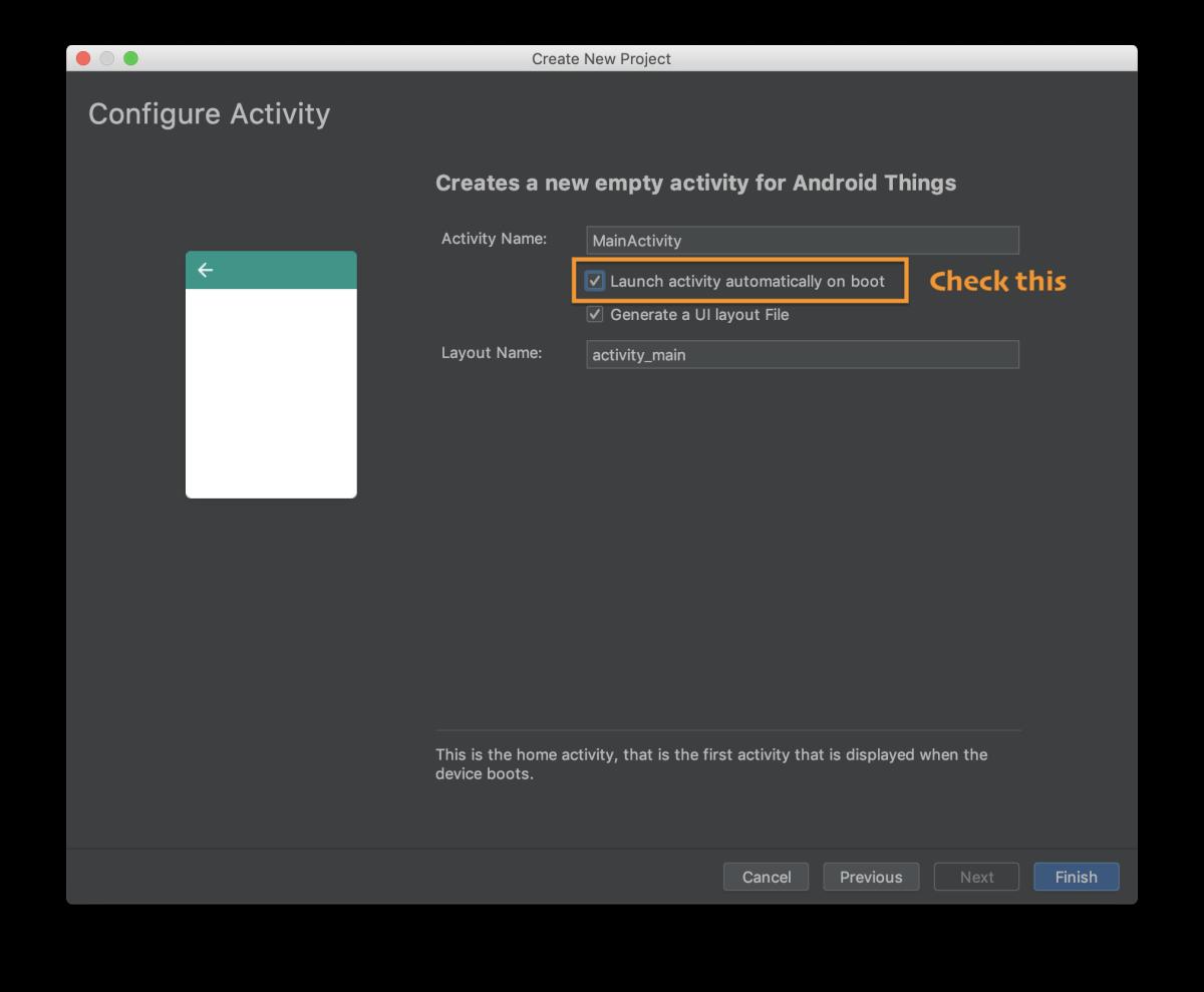 Configure the activity