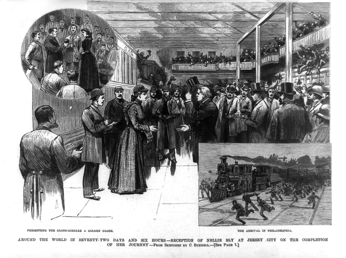 Nellie Bly  at a reception celebrating her safe return after traveling around the world in seventy two days