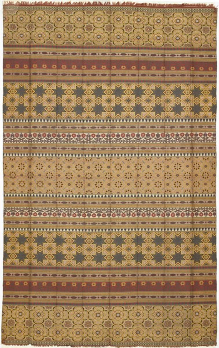 "From the distinguished tradition of Islamic textiles comes this luxurious piece which attests to the high quality of the artisans active in Granada ca. 1400. ""Alhambra silks,""  are designed in bands recalling tile mosaics in the Alhambra."
