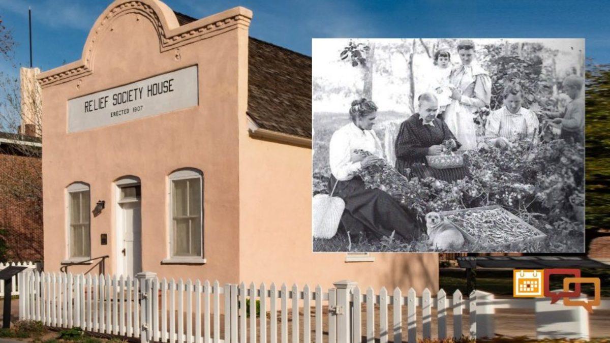 Santa Clara Relief Society Building, Santa Clara, Utah, March 16, 2017; Inset photo: Western European immigrants harvesting silk cocoons, Washington City, Utah, ca. late-18th century.