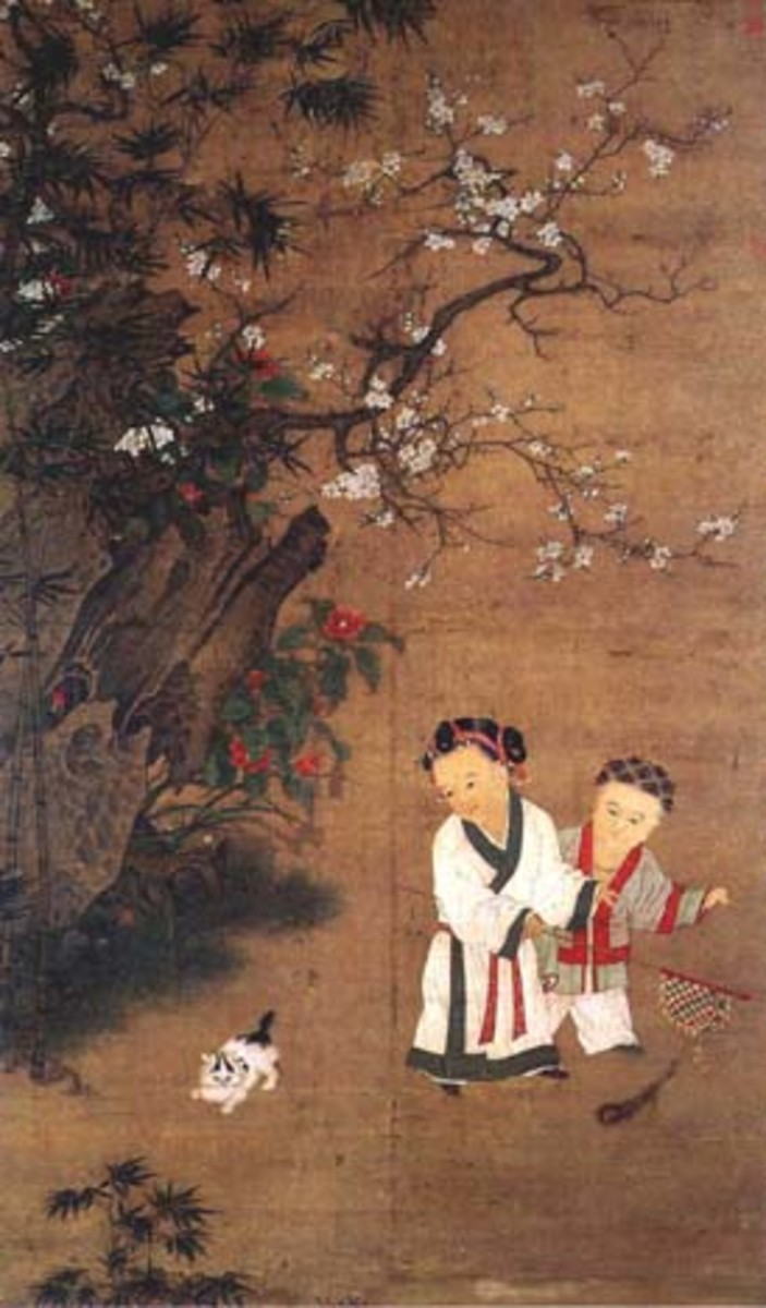 Fong and James C.Y. Watt, Possessing the Past: Chinese painting on silk, with playing children wearing silk clothes, by Su Hanchen (active 1130s–1160s), Song Dynasty.  Fong and James C.Y. Watt, Possessing the Past, the National Palace Museum.