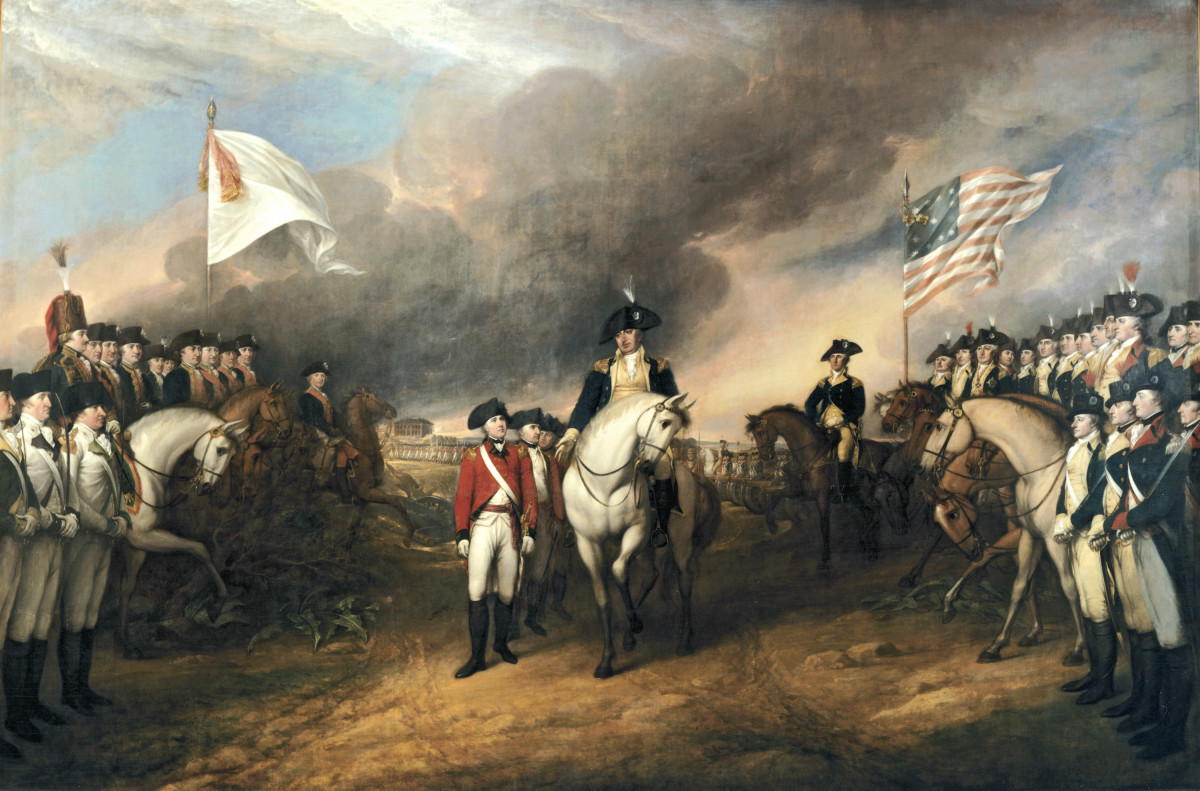Surrender of Lord Cornwallis by John Trumbull, depicts the British surrendering to Benjamin Lincoln, flanked by French (left) and American troops. Oil on canvas, 1820.
