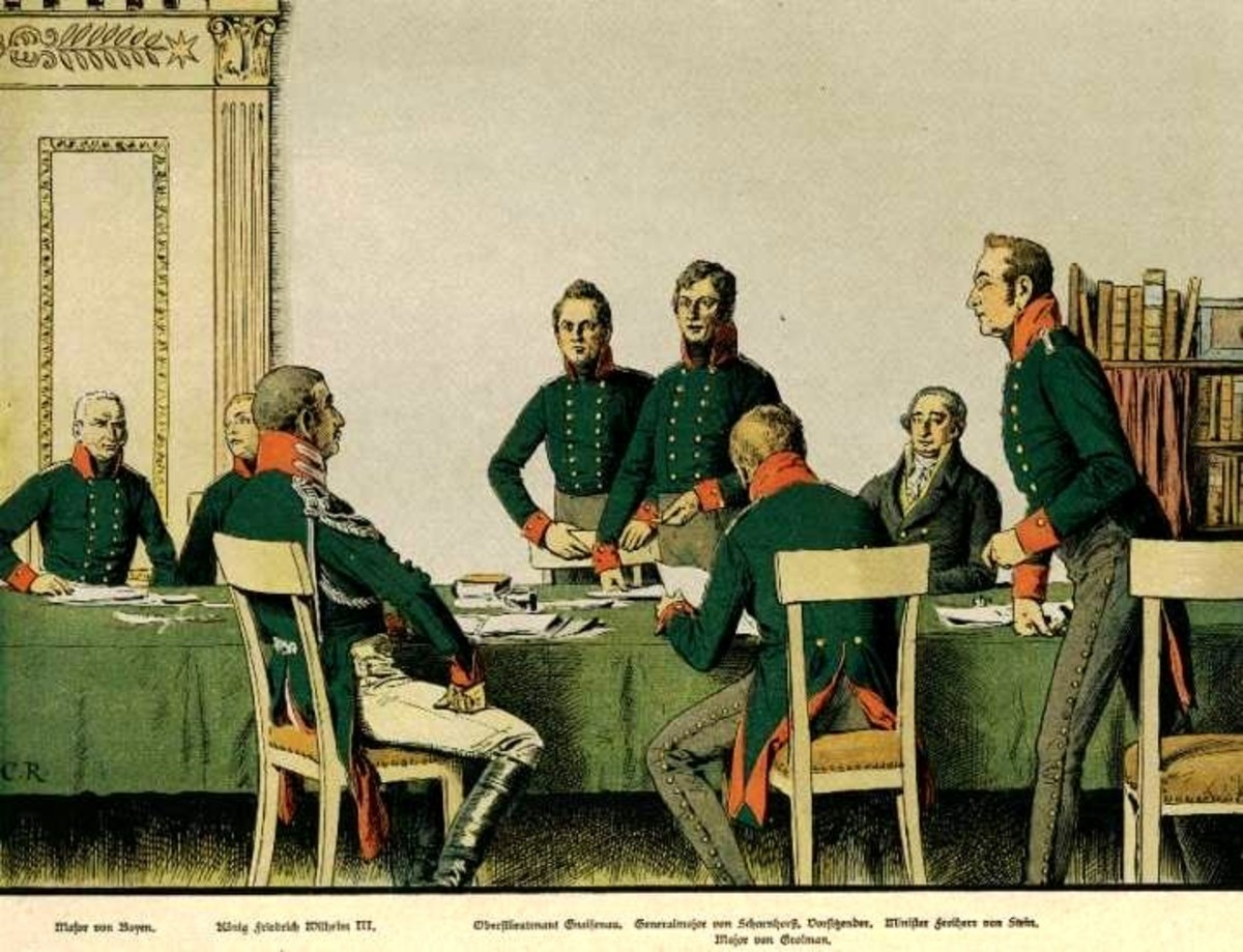 Meeting of the Prussian army reformers in Königsberg in 1807, by Carl Röchling.