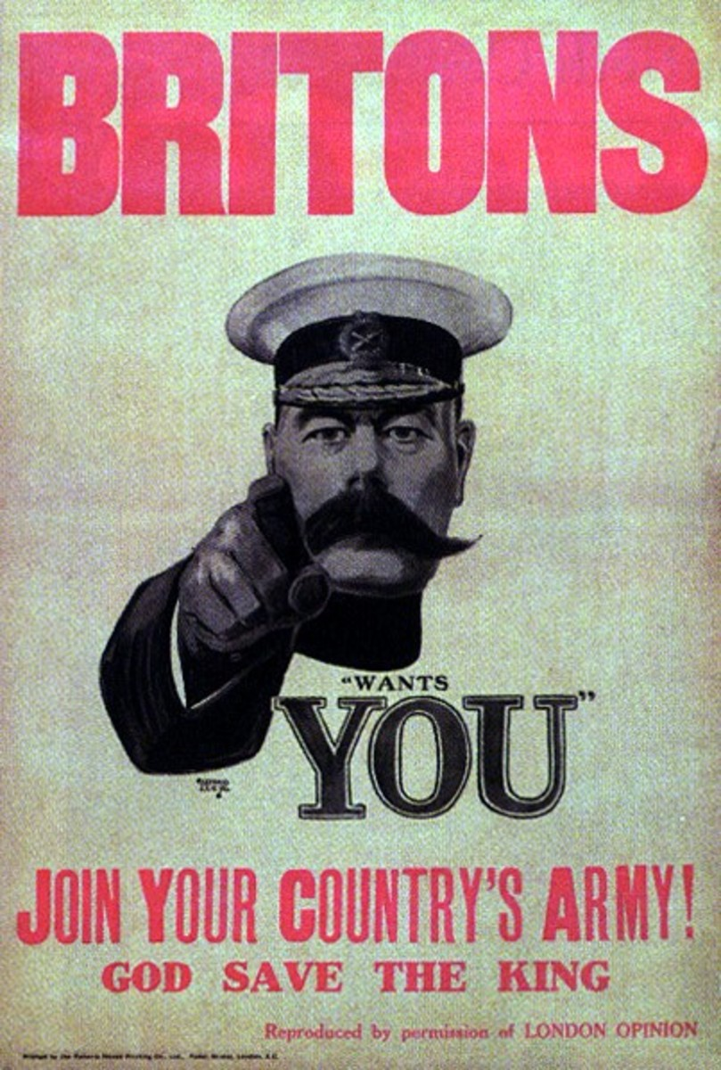 The famous British army recruitment poster of 1914 featuring Lord Kitchener - by the 20th century, the reforms of the army and the demands for manpower had swept away many of the older conventions of recruiting and officer candidacy in Britain.