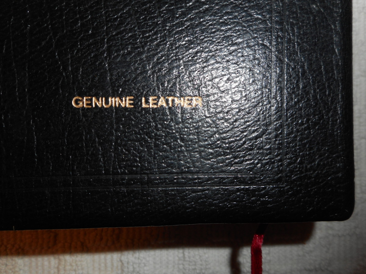 The more modern leather Bibles will have the type of leather named on the back cover in the lower right hand corner.