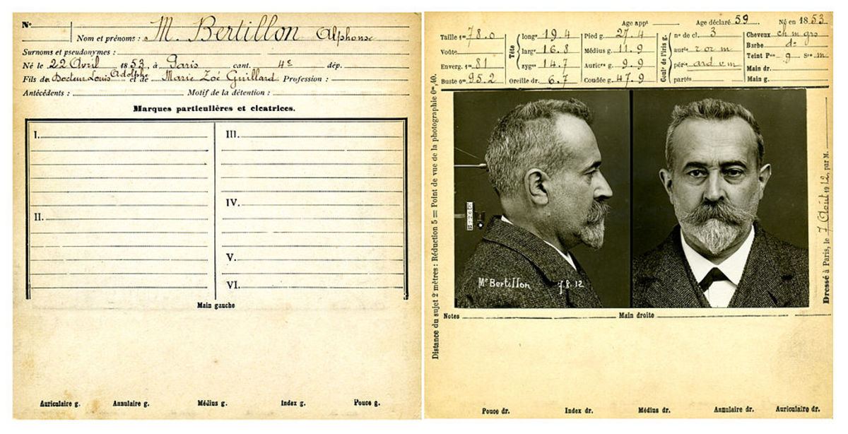 The French policeman Alphonse Bertillon (above) took Lombroso's work as the starting point for creating such investigative tools as the mug shot.