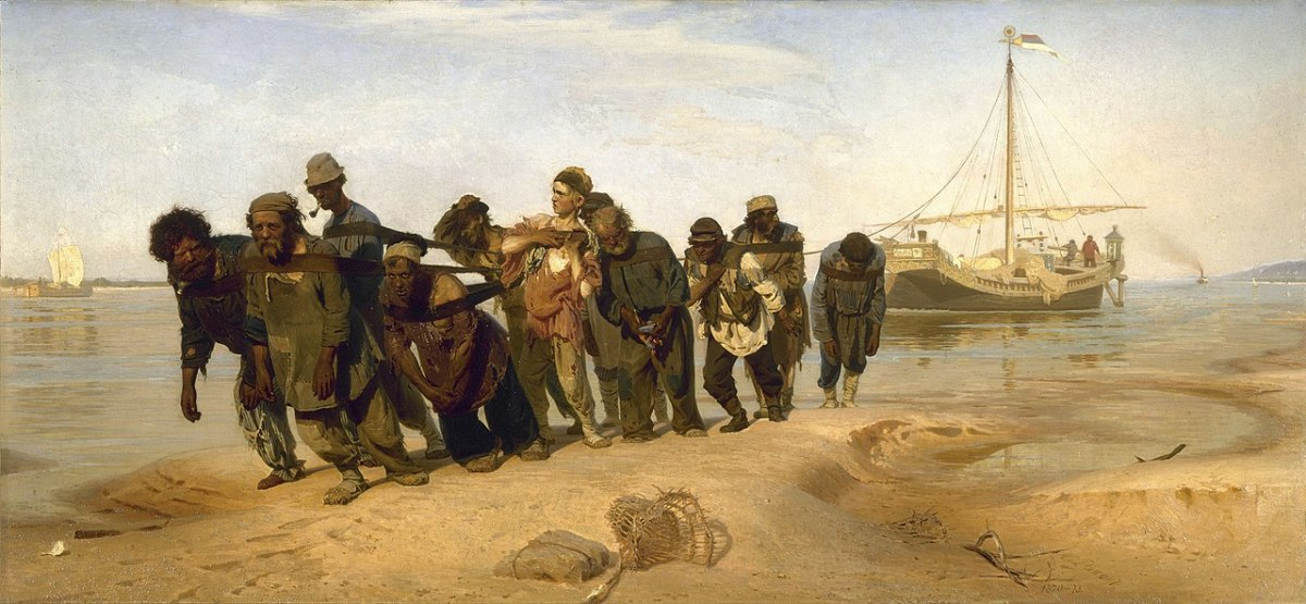 Russian serfs haul a barge on the River Volga. Serfdom was, in many ways, similar to slavery.