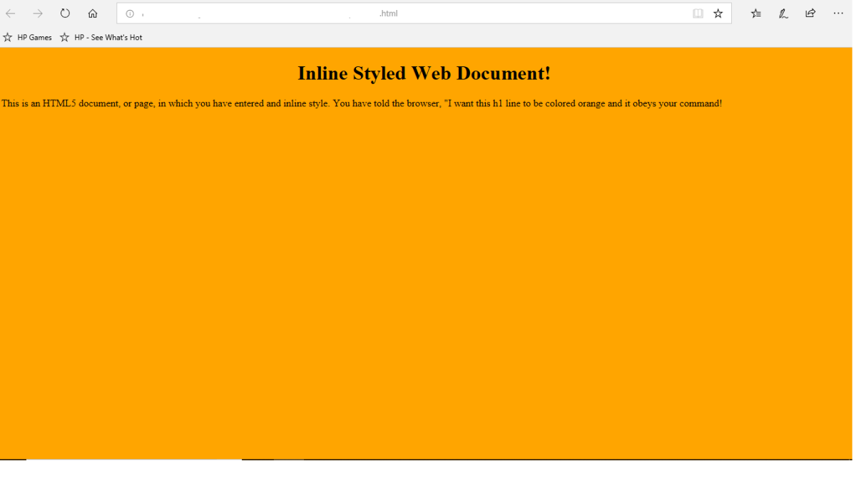 Inline style sheet working with an internal style sheet and an inline style code.