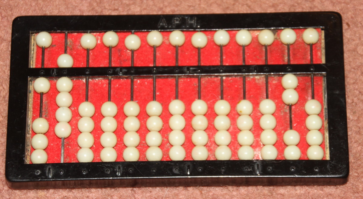 The abacus shows the result of ¾ + 1/5 = 19/20
