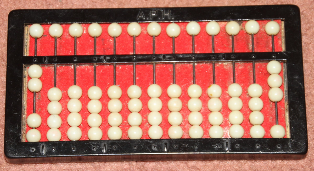 This abacus shows the simple fraction: 2/3.