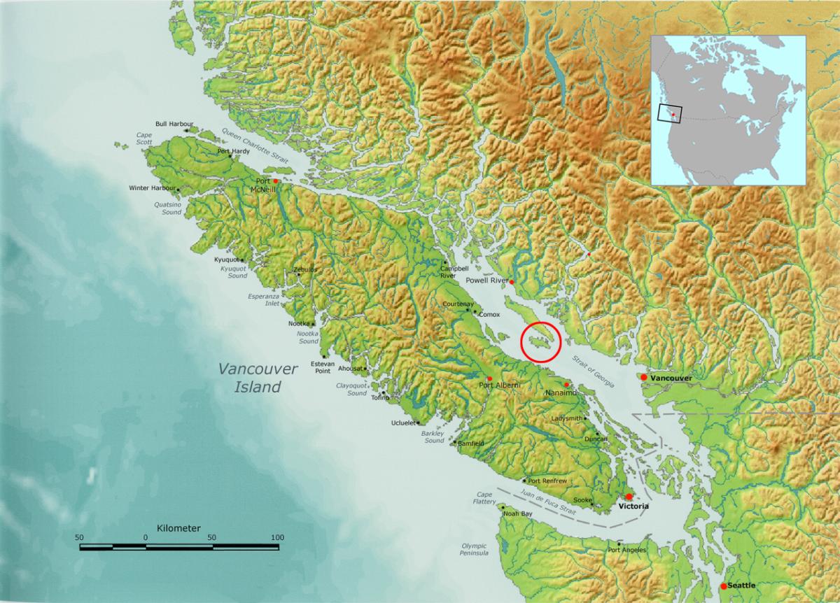 The Salish Sea (Lasqueti Island is circled.)