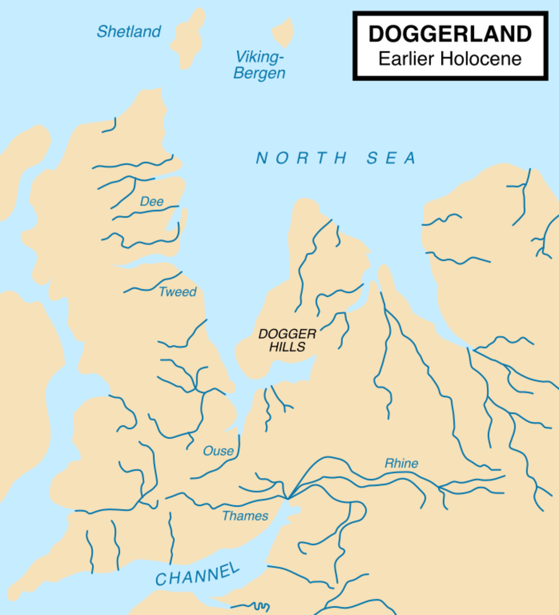 Doggerland approximately as it existed at the start of the Holocene Epoch
