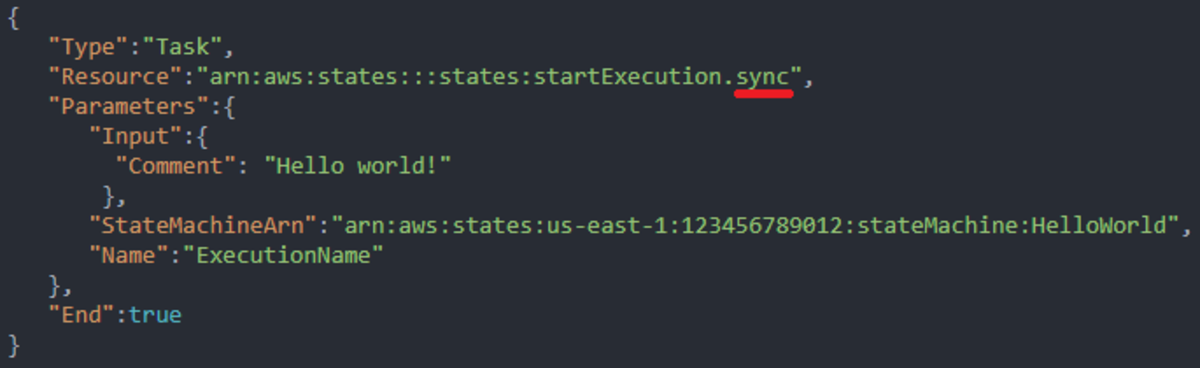 This state starts a nested state machine and waits for it to finish, note the '.sync' to specify to wait for it to finish.