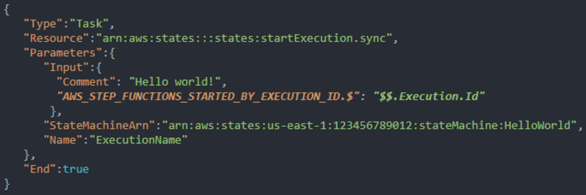 An example of the special execution ID variable being passed to the nested workflow being initiated.