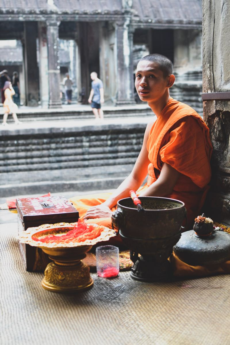 These orange monk robes are instantly recognizable.