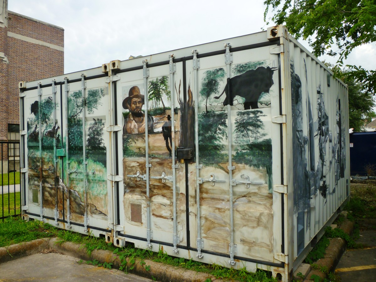 Decorated storage container in parking lot